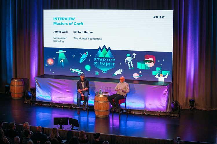 From left - Brewdog's James Watt and Sir Tom Hunter, taken at Startup Summit 2017