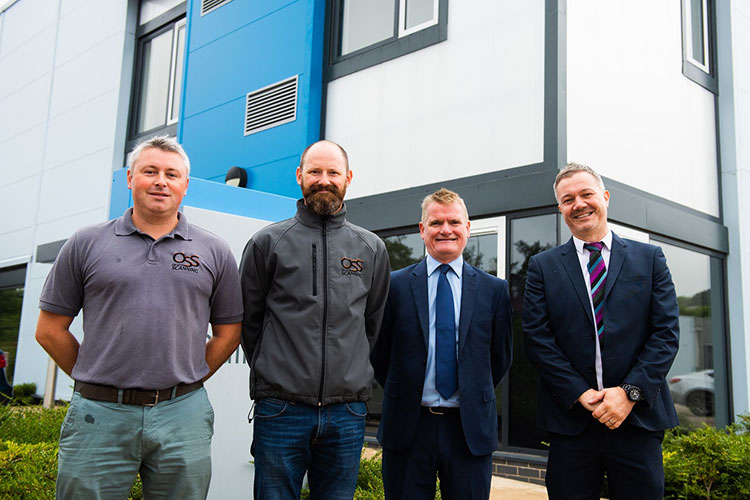 L-R: Barry Higgins and Ross Campbell (joint managing directors at On Site Scanning), Gerry McCarthy (Chair - Ri) and David Martin (Property Asset Manager - Ri)