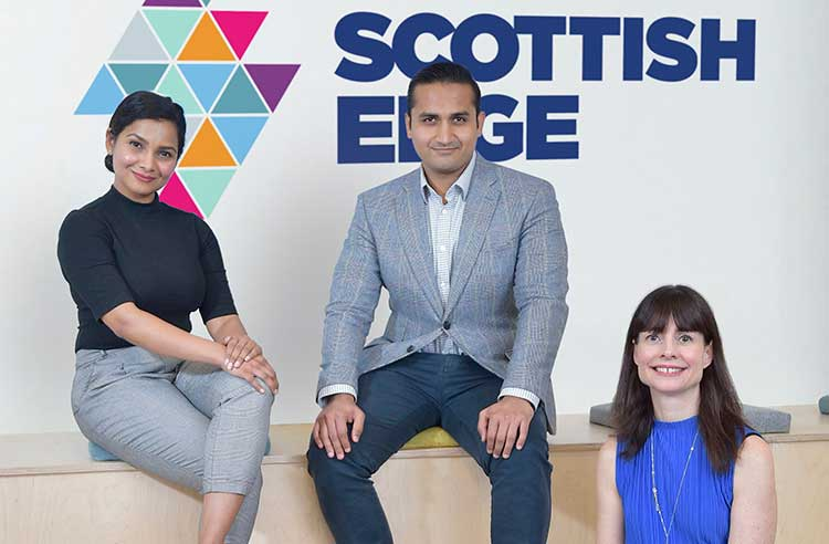 Left to right are Vandana Pillai and Dhruv Trivedi of Bounce Back Drinks and Evelyn McDonald of Scottish EDGE (by Sandy Young)
