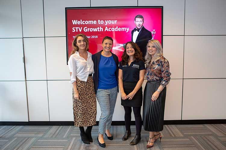 (L-R): Megan Reid, Audience Development Team Lead, STV; Katie Martin, Communications Executive, STV; Melinda O'Reilly, Entrepreneur Acceleration Manager from Royal Bank of Scotland; Danielle Kelly, Client Services Director, STV