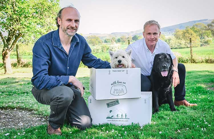 Bella and Duke founders Mark Scott (left) and Tony Ottley, with pets Alfie and Gus