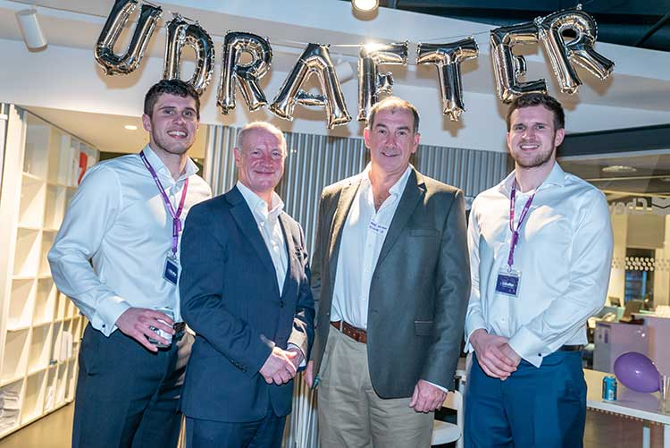 (L-R), Managing Director of Udrafter Daryll Morrow, Alec Carstairs, Non-Executive Director of RA International, Mike Wilson, Chairman of Ecosse IP, and Luke Morrow Co-Founder and Director or Udrafter