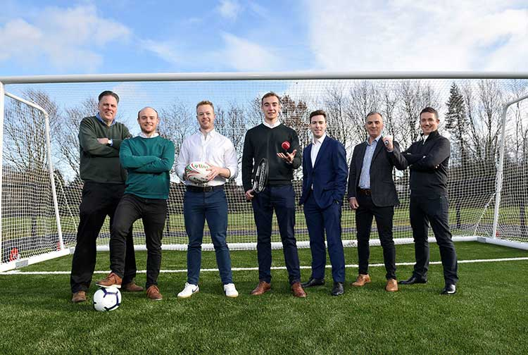 (L-R) John Murray from TechStart NI, founders of Pitchbooking Shea O'Hagan, Chris McCann and Fearghal Campbell, Chris Trotter from Clarendon Fund Managers and Aurient Ltd partners Cecil Hetherington and Anthony Kieran