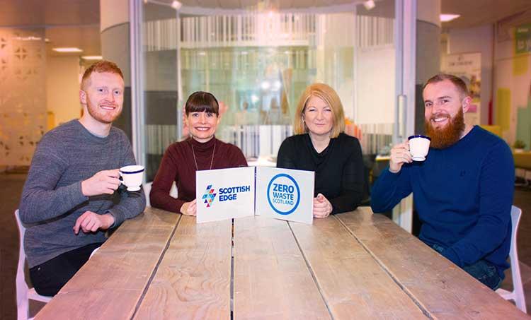 From left - Fergus Moore (Revive Eco), Evelyn McDonald (Scottish EDGE), Jill Farrell (ZWS), Scott Kennedy (Revive Eco)
