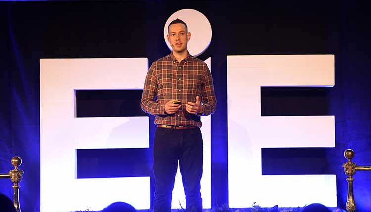 John Robertson of Drinkly pitching at EIE 2018