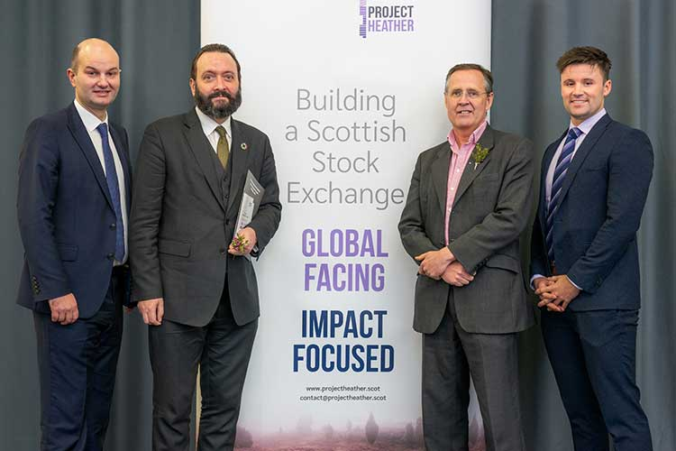 From left; AAB's Douglas Martin, Tomas Carruthers and Edwin Hamilton of Project Heather and Stuart Cooper of AAB