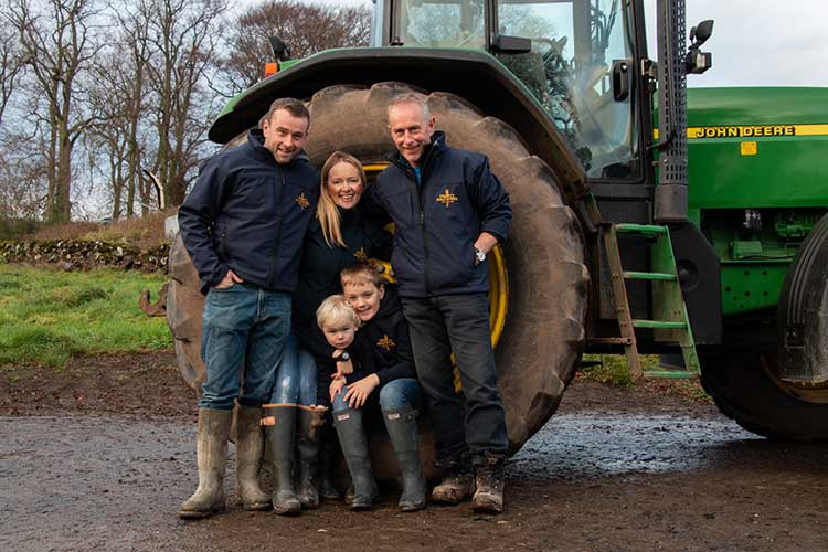 Alison Milne and her family at their farm (photo by Granite Creative)
