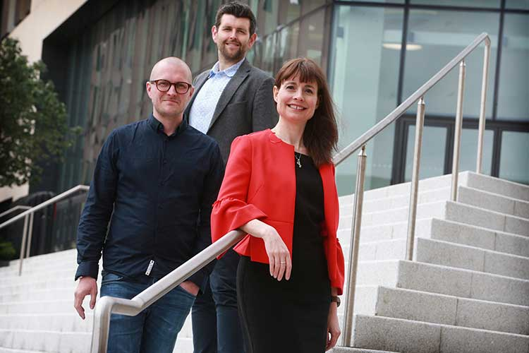 Left to right - Kristian Tapaninaho of Ooni - Michael Corrigan of Trtl - Evelyn McDonald of Scottish EDGE - by Stewart Attwood