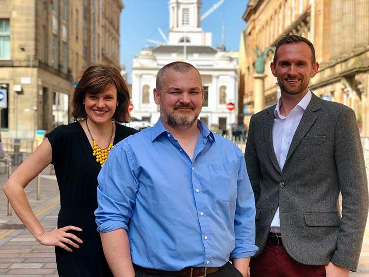 From left - Katie Clark, Paul Crabb and Neil McDonald of Media Zoo Scotland