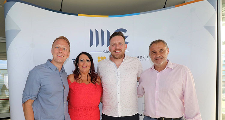 From left - Robert Copeland, Pursuit Marketing; Lorraine Gray, Pursuit Marketing; Patrick Byrne, 4icg; Mayor of Malaga.