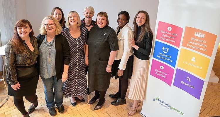 Left to right - Monica Martins, Moira Bennett, Kate Little, Karen Barr (Business Gateway Edinburgh) Anne Sellar, Susan Harkins (Head of Business Gateway Edinburgh), Ifeyinwa Rita Kanu and Rachel Snedden
