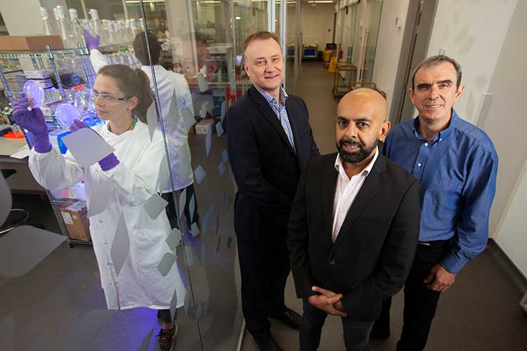 (L to R) John McNicol from Kelvin Capital, Jaymin Amin from ProFactor Pharma and Ian Fotheringham from Ingenza