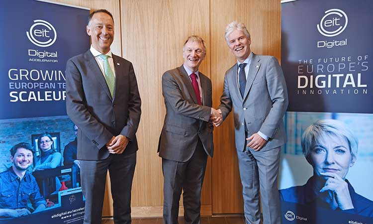 EIT Digital Chief Education Officer Roberto Prieto, Scottish Innovation Minister Ivan McKee, and EIT Digital CEO Willem Jonker