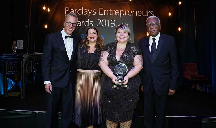 left to right is: Richard Heggie, Head of High Growth & Entrepreneurs Propositions; Business Banking at Barclays Juliet Rogan, Head of High Growth & Entrepreneurs Coverage; Business Banking at Barclays Brie Read, founder of Snag Sir Trevor McDonald OBE (host)